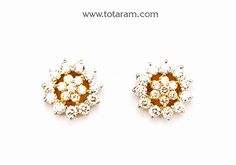 Diamond Earrings for Women in 18K Gold - DER778 - Indian Jewelry from Totaram Jewelers