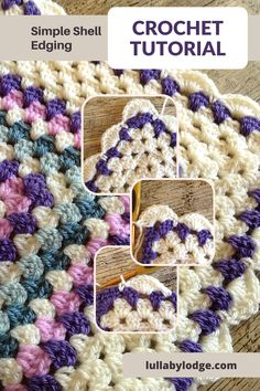 Simple tutorial to add a shell edging to your granny square blankets. Free pattern by Lullaby Lodge... Crochet Edging Tutorial, Crochet Border Patterns, Crochet Blanket Border, Crochet Edgings, Crochet Stitches, Knitting Patterns, Learn To Crochet, Diy Crochet, Crochet Ideas