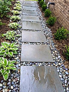 Love stepping stones + aggregate path punctuated with contrasting plants. Looks clean, orderly. Love stepping stones + aggregate path punctuated with contrasting plants. Looks clean, orderly. Backyard Walkway, Backyard Patio Designs, Small Backyard Landscaping, Landscaping Ideas, Side Walkway, Front Walkway Landscaping, Front Yard Walkway, Gravel Pathway, Rock Pathway