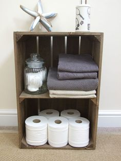 VINTAGE STYLE SHABBY CHIC WOODEN APPLE CRATE DISPLAY SHELF, HANDMADE, STURDY in Home, Furniture & DIY, Storage Solutions, Storage Boxes | eBay