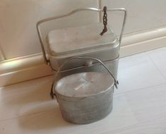 Aluminium Lunch Boxes.  French Vintage Workers and Child's Lunch Boxes. Lovely Kitchen Display. Storage Cannisters. Industrial Kitchen Style by FleursEnFrance on Etsy