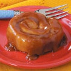 Caramel cinnamon rolls: caramel is made from vanilla ice cream. It makes 2 pans full so I freeze one before baking.