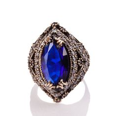 The Zerbap Güliz Ring with Zircon Sapphire Stone by Rosestyle, $42.50