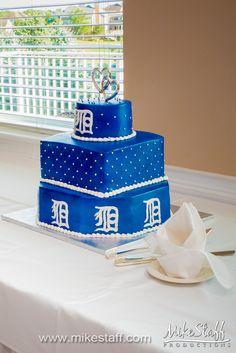 Royal blue wedding cake with Detroit 'D' #wedding #cake #Michiganwedding #Chicagowedding #MikeStaffProductions #wedding #reception #weddingphotography #weddingdj #weddingvideography #wedding #photos #wedding #pictures #ideas #planning #DJ #photography