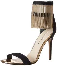 Via Spiga Women's Tolsa Dress Sandal,Black,7 M US. High-heeled sandal with two ankle straps featuring gold-tone fringe at ankle and covered heel. Zippered entry at ankle.