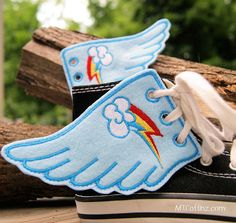 My Little Pony Rainbow Dash Embroidered Shoe Wings by MTthreadz, $10.00