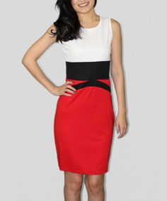 Look at this #zulilyfind! Red & Black Color Block Sheath Dress by Sheez Petite #zulilyfinds