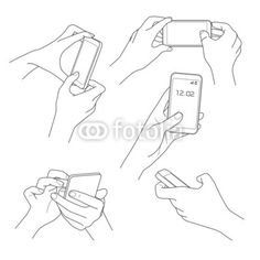 Illustration of Hand holding smartphone sketch vector illustrations vector art, clipart and stock vectors. Hand Drawing Reference, Drawing Reference Poses, Hand Holding Something, Hand Holding Phone, Hand Pose, Poses References, Drawing Base, Figure Drawing, Art Poses