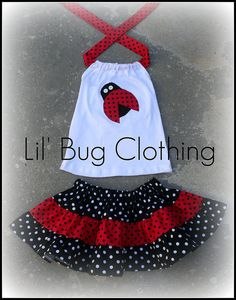 Custom Boutique Clothing  Ladybug Red and Black Dot Tiered Halter Skirt  Birthday. $42.00, via Etsy.