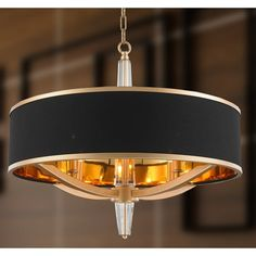 """Glam Collection 4 Light Matte Gold Finish with Black Drum Shade Chandelier 26"""" D x 26"""" H"""