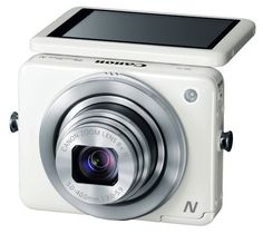 White Canon Power Shot N Camera. Awesome for vlogging!