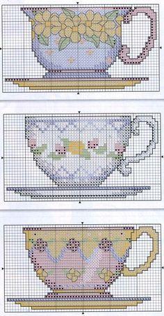 Tea cups cross stitch. Also good for plastic canvas designs!