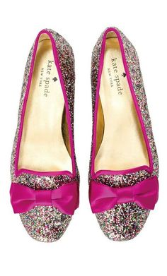 Glitter bow flats // by Kate Spade