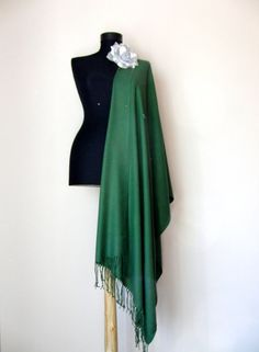 Dark Olive Green Shawl Solid Color Pashmina Cashmere by RosaShawls, $25.00