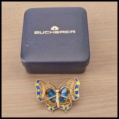 """BUCHERER Swiss Vintage Filligree & Enamel """"Butterfly"""" Ladies Coctail Brooch 