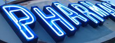Part of Melrose Pharmacy's old neon sign