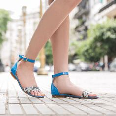 Leather Sandal Lola Blue - handcrafted in Buenos Aires