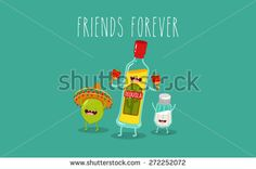 Tequila bottle, lime and salt shaker. Vector cartoon. Friends forever. Comic characters. - stock vector