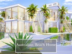 By Pralinesims Found in TSR Category 'Sims 4 Residential Lots' Australian Beach, Australian Homes, Sims House Design, Modern House Design, The Sims 4 Cabelos, Casas The Sims 4, Sims 4 Houses, Sims Community, Sims Resource