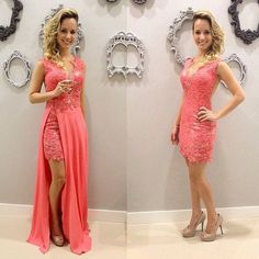 Charming Prom Dress, Chiffon Appliques Evening Dress, Removeable