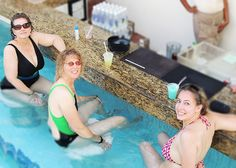Darlene, Kimberly, and Chrystina poolside