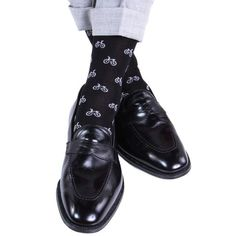 Black with Ash Bicycle Sock Linked Toe Mid-Calf