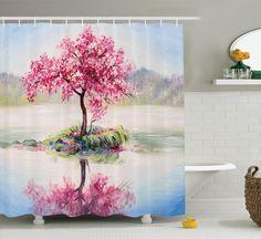 Peace Land Love Car Waterproof Fabric Shower Curtain Set Bathroom 71Inches