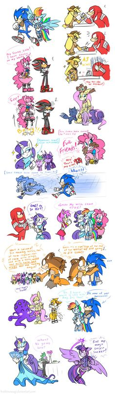 It's nothing special. I just decided finish some sketches from 2014 You can check out my first idea of MLP FIM SBs: MLP FIM Sonic BOOM style Another one race? How many time you raci. Fluttershy, Rainbow Dash, Shadow The Hedgehog, Sonic The Hedgehog, Sonic Funny, Mlp Comics, Sonic And Amy, Imagenes My Little Pony, Fandom Crossover