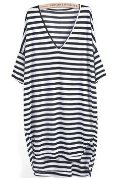 Casual Black White Striped Deep V Neck Slim Hip Clubwear Loose Dress
