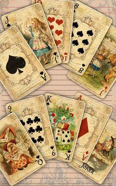 Playing Card Crafts, Playing Cards Art, Vintage Playing Cards, Alice In Wonderland Play, Adventures In Wonderland, Wonderland Party, Alice In Wonderland Printables, Desenhos Tim Burton, Printable Playing Cards