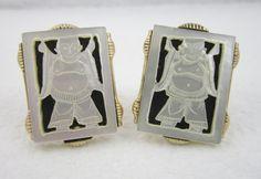Vintage Cufflinks Buddha Cuff Links Signed by LadyandLibrarian, $90.00