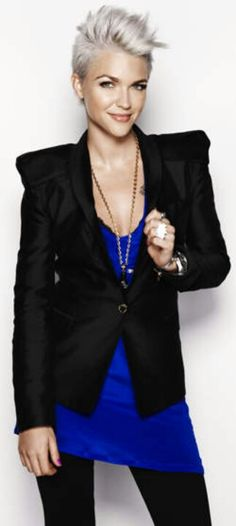 Ruby Rose--total girl crush!  How can I not love a girl that makes pixie hair & tattoos look totally fierce! :)