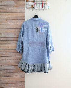 Upcycled tunic Boho Clothing Recycled altered eco jacket Blue