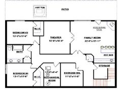 Bungalow with Walkout Basement Plan 2011545 Basement floor planMystic Lane   Retirement House Plan   Ranch Floor Plan   Basement  . Basement Floor Plan Layout. Home Design Ideas