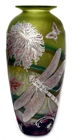Dragonfly vase in silver and olive by Jonathan Harris
