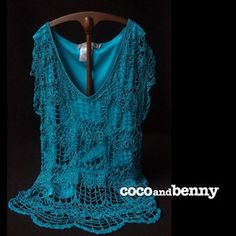 *Vintage Bright Aqua Crocheted Lace