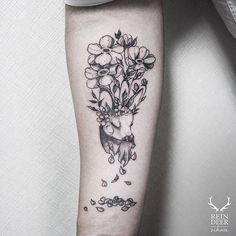 Deer Tattoo shared by zihwa_tattooer