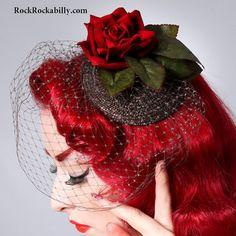 Red Rose Burlesque Rockabilly Pin Up hair Flower Fascinator Headpiece