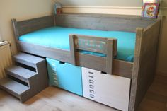 Like the idea of a short rail. Makes making the bed easier and if placed in the middle can put steps on either side! Bunker Bed, Boys Home, Condo Living, Bed Storage, Kid Beds, Kids Furniture, Girl Room, Kids Bedroom, Mink