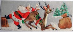 Mid Century Modern Santa Pushing Reindeer  (http://www.ebay.com/itm/50s-Hallmark-Mid-Century-Modern-Santa-Pushing-Reindeer-Vtg-Christmas-Card-640-/330836909354)