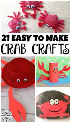 21 Easy Ocean themed Crafts. Crab crafts are fun children's activities and great summer crafts for preschool and kindergarten or even for homeschool. Have fun making these crab crafts today! #crafts #kidsactivities #oceancrafts #crabs #toilettubecrafts #paperplatecrafts #artsandcrafts #kidsfun #kidscraft #funforkids