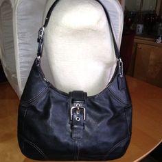 Coach Purse Black Leather Hobo Bag