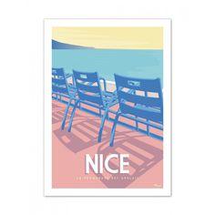 Affiche Marcel Nice La Promenade Des Anglais Tirage En Serie Limitee Imprime Sur Papier 350g Affiches De Voyage Retro Affiches D Art Deco Affiches De Voyage