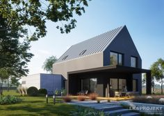 House with attic in modern style with usable area House with a large garage. Minimum size of a plot needed for building a house is m. Modern Exterior, Exterior Design, Outside House Paint Colors, Oak Frame House, Brick Architecture, Narrow House, Passive House, Modern Barn, Dream House Exterior