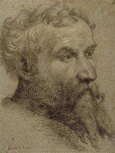 Lorenzo Lotto, Portrait of a Bearded Man, 1535-40. Black chalk on faded blue prepared paper. National Galleries of Scotland