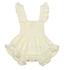 Divine Shirred Playsuit by Nanny Pickle - perfect for a frolic at the beach or a visit to grandma's!  Adorably sweet baby girls playsuit features a shirred bodice and is made from Nanny Pickle's bespoke blend of luxurious bamboo and organic cotton - guaranteed to be gentle to the most sensitive of baby skin.  #designerbabyclothing #babygirl #babyfashion #playsuit #babyshop #littlebooteek