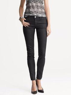 NWOT Banana Republic Black Coated Skinny Jeans Sz 25 Short Sz 0 Ins 25 in #BananaRepublic #Coated