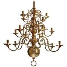 A large three tiered brass Dutch chandelier | From a unique collection of antique and modern chandeliers and pendants  at http://www.1stdibs.com/furniture/lighting/chandeliers-pendant-lights/  $6,536
