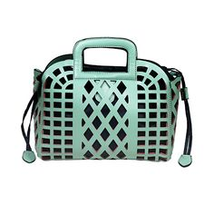 Cut Out Top Handle Satchel in Sea Foam Green & Lined in Navy Blue.