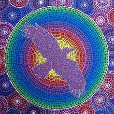 """""""Wunjo Crow"""" Inspired by Kye Crow. Painting by Elspeth McLean #crow #rainbow…"""